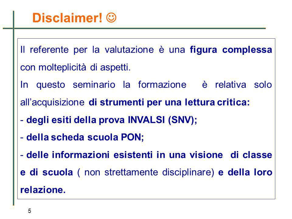 5 Il referente per la valutazione è una figura complessa con molteplicità di aspetti. In questo seminario la formazione è relativa solo allacquisizion