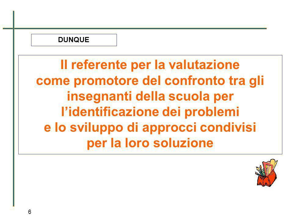 6 Il referente per la valutazione come promotore del confronto tra gli insegnanti della scuola per lidentificazione dei problemi e lo sviluppo di appr