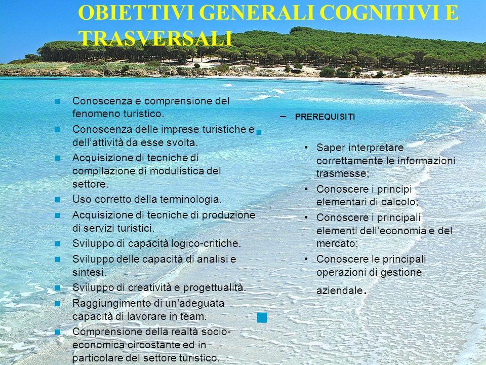 OBIETTIVI GENERALI COGNITIVI E TRASVERSALI Conoscenza e comprensione del fenomeno turistico. Conoscenza delle imprese turistiche e dellattività da ess
