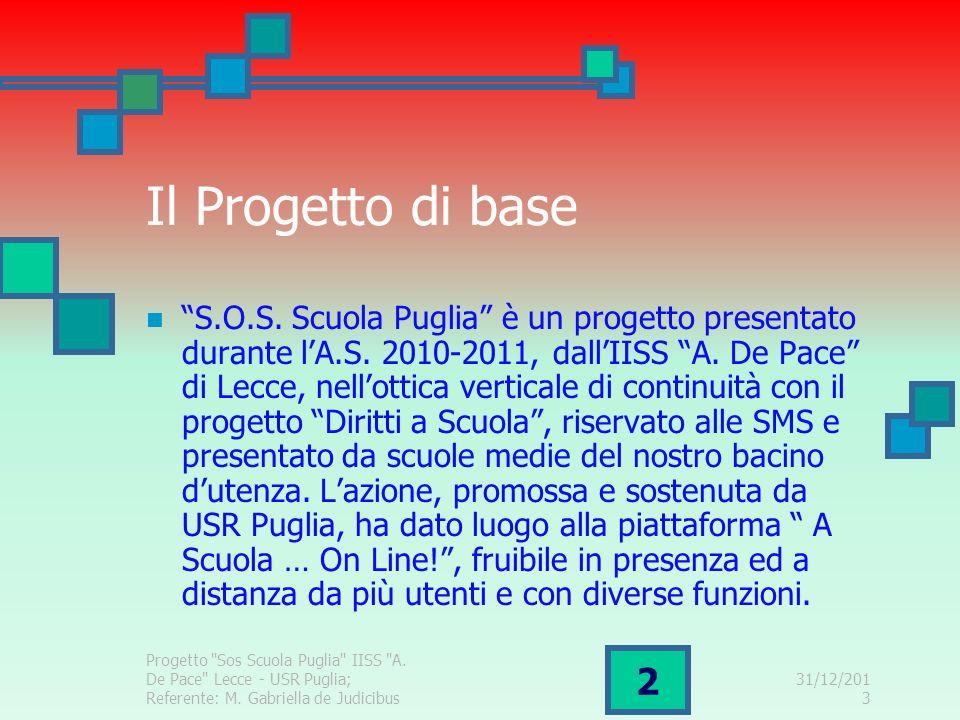 31/12/2013 2 Il Progetto di base S.O.S. Scuola Puglia è un progetto presentato durante lA.S. 2010-2011, dallIISS A. De Pace di Lecce, nellottica verti