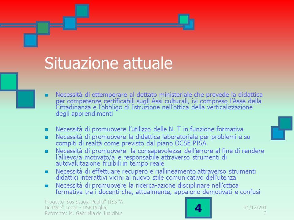 31/12/2013 Progetto Sos Scuola Puglia IISS A. De Pace Lecce - USR Puglia; Referente: M.