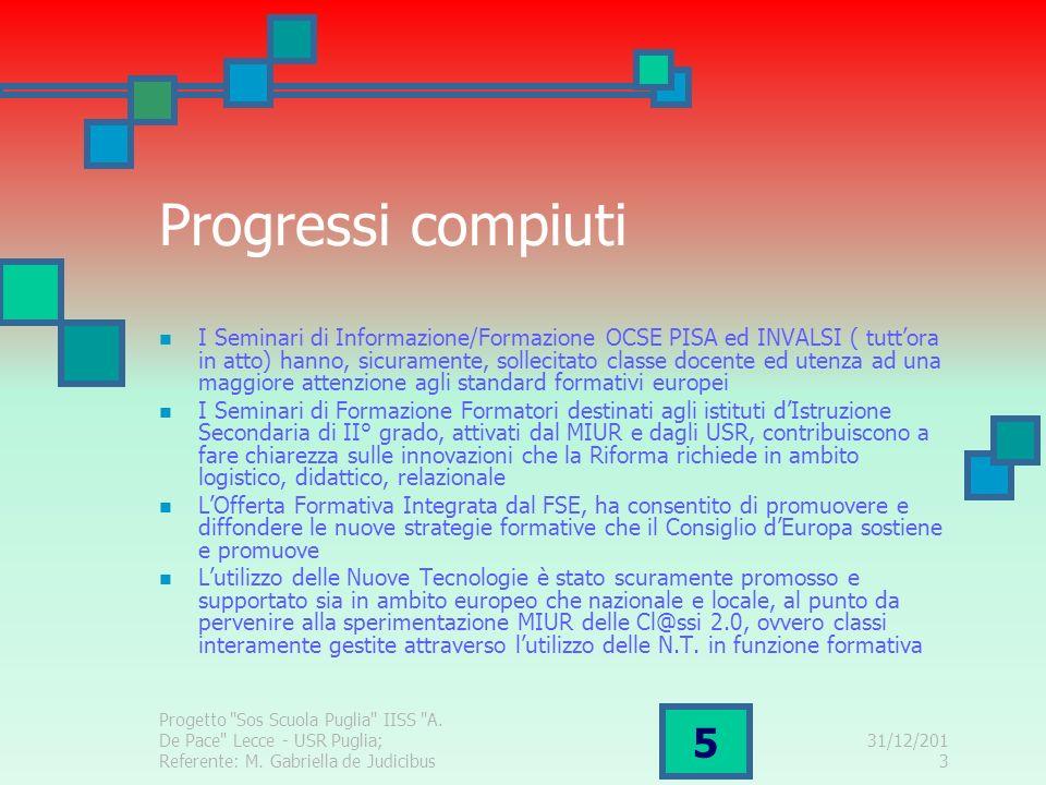 31/12/2013 Progetto Sos Scuola Puglia IISS A.De Pace Lecce - USR Puglia; Referente: M.