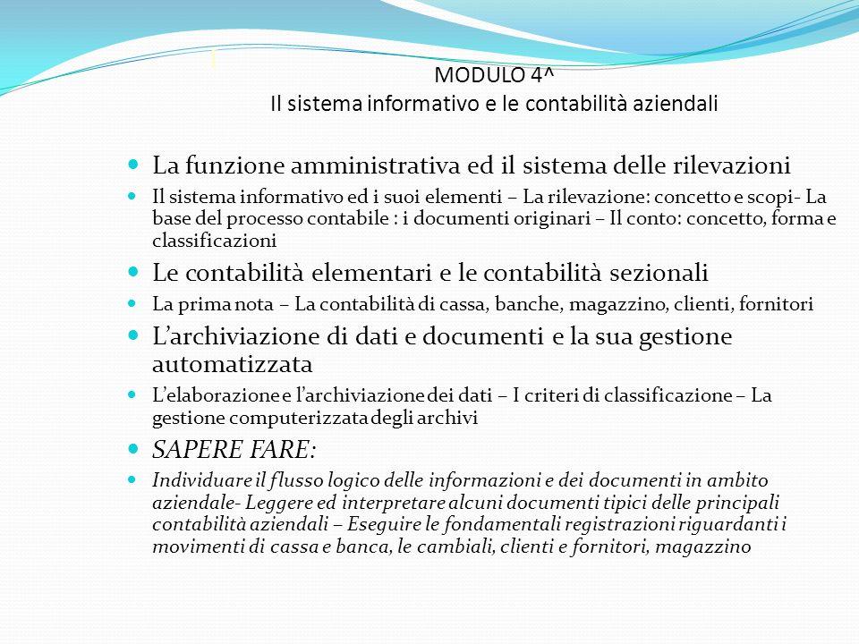 I MODULO 4^ Il sistema informativo e le contabilità aziendali La funzione amministrativa ed il sistema delle rilevazioni Il sistema informativo ed i s