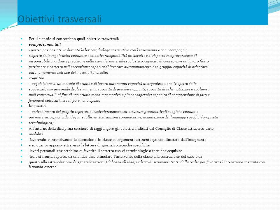 Obiettivi trasversali Per il biennio si concordano quali obiettivi trasversali: comportamentali - partecipazione attiva durante le lezioni; dialogo co