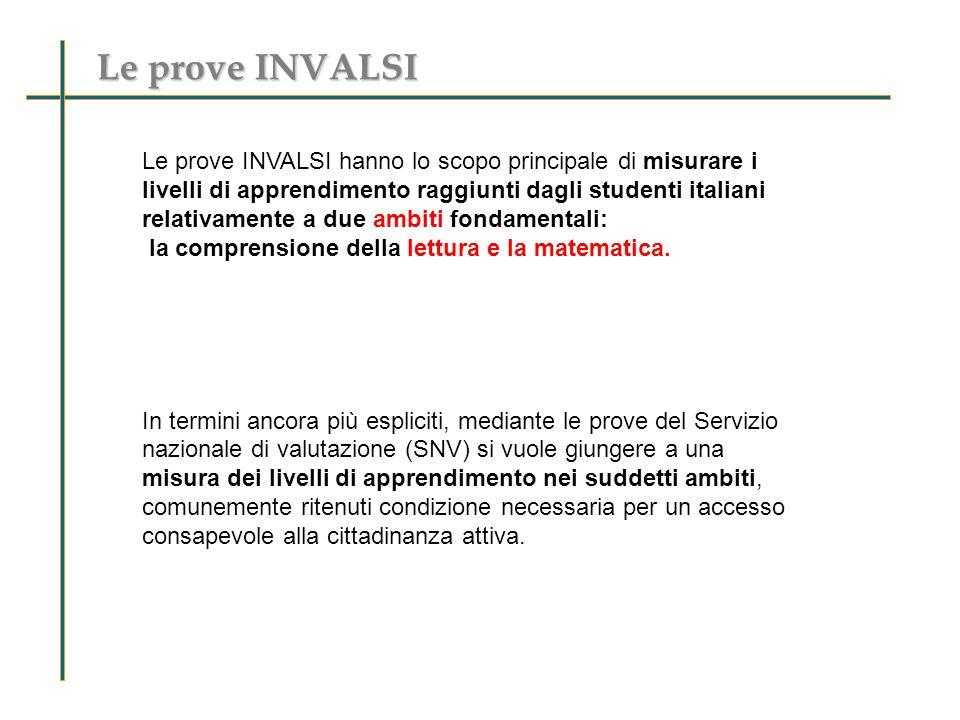 Le prove INVALSI Le prove INVALSI hanno lo scopo principale di misurare i livelli di apprendimento raggiunti dagli studenti italiani relativamente a due ambiti fondamentali: la comprensione della lettura e la matematica.