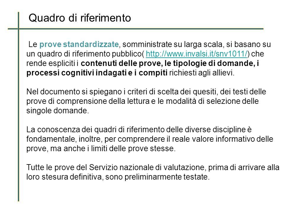 Quadro di riferimento Le prove standardizzate, somministrate su larga scala, si basano su un quadro di riferimento pubblico( http://www.invalsi.it/snv1011/) che rende espliciti i contenuti delle prove, le tipologie di domande, i processi cognitivi indagati e i compiti richiesti agli allievi.http://www.invalsi.it/snv1011/ Nel documento si spiegano i criteri di scelta dei quesiti, dei testi delle prove di comprensione della lettura e le modalità di selezione delle singole domande.