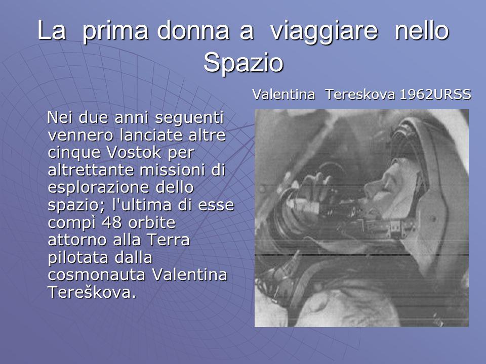 La prima donna a viaggiare nello Spazio Nei due anni seguenti vennero lanciate altre cinque Vostok per altrettante missioni di esplorazione dello spazio; l ultima di esse compì 48 orbite attorno alla Terra pilotata dalla cosmonauta Valentina Tereškova.