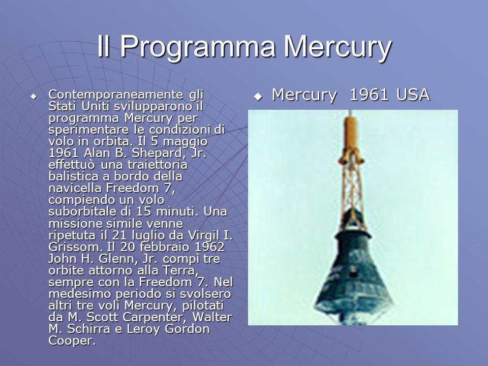 Il Programma Mercury Contemporaneamente gli Stati Uniti svilupparono il programma Mercury per sperimentare le condizioni di volo in orbita.