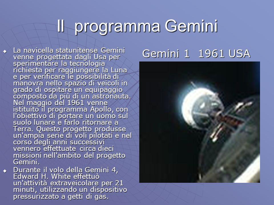 Il programma Gemini La navicella statunitense Gemini venne progettata dagli Usa per sperimentare la tecnologia richiesta per raggiungere la Luna e per verificare le possibilità di manovra nello spazio di veicoli in grado di ospitare un equipaggio composto da più di un astronauta.