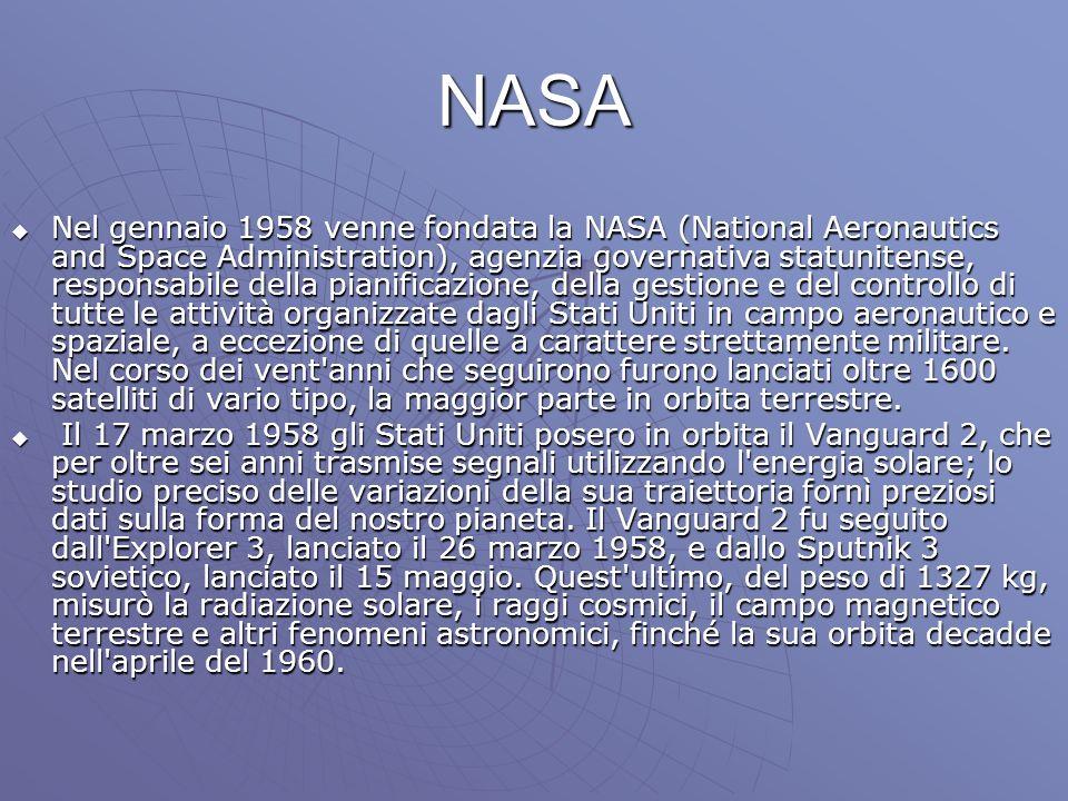 NASA Nel gennaio 1958 venne fondata la NASA (National Aeronautics and Space Administration), agenzia governativa statunitense, responsabile della pian