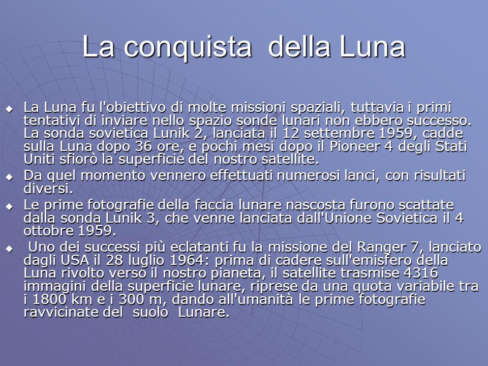La conquista della Luna La Luna fu l'obiettivo di molte missioni spaziali, tuttavia i primi tentativi di inviare nello spazio sonde lunari non ebbero