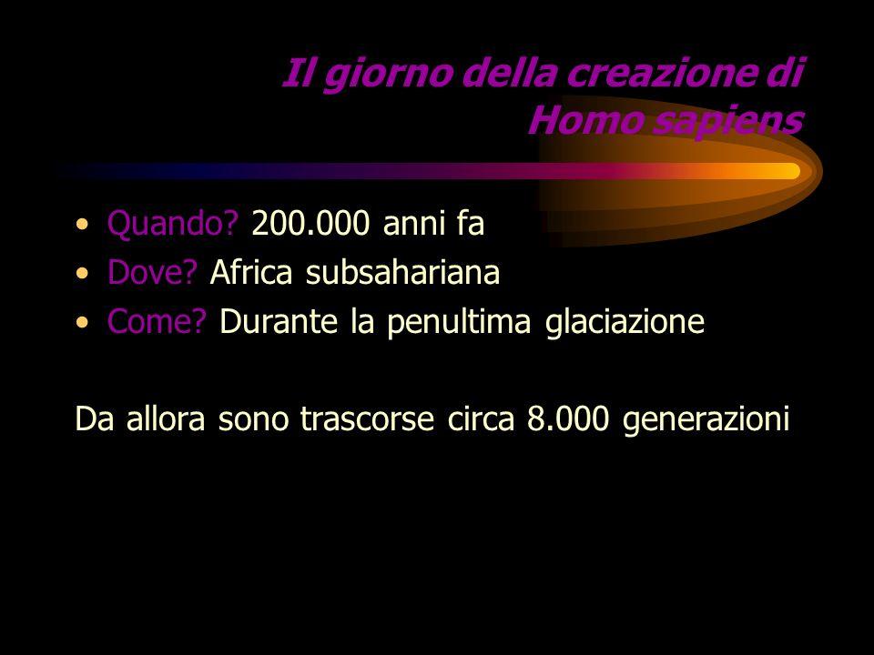 Il giorno della creazione di Homo sapiens Quando.200.000 anni fa Dove.