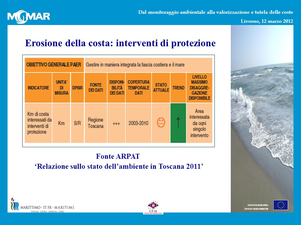 Dal monitoraggio ambientale alla valorizzazione e tutela delle coste Livorno, 12 marzo 2012 UNIONE EUROPEA UNION EUROPEENNE Erosione della costa: interventi di protezione Fonte ARPAT Relazione sullo stato dellambiente in Toscana 2011
