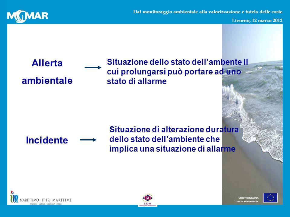 Dal monitoraggio ambientale alla valorizzazione e tutela delle coste Livorno, 12 marzo 2012 UNIONE EUROPEA UNION EUROPEENNE Allerta ambientale Situazione dello stato dellambente il cui prolungarsi può portare ad uno stato di allarme Incidente Situazione di alterazione duratura dello stato dellambiente che implica una situazione di allarme