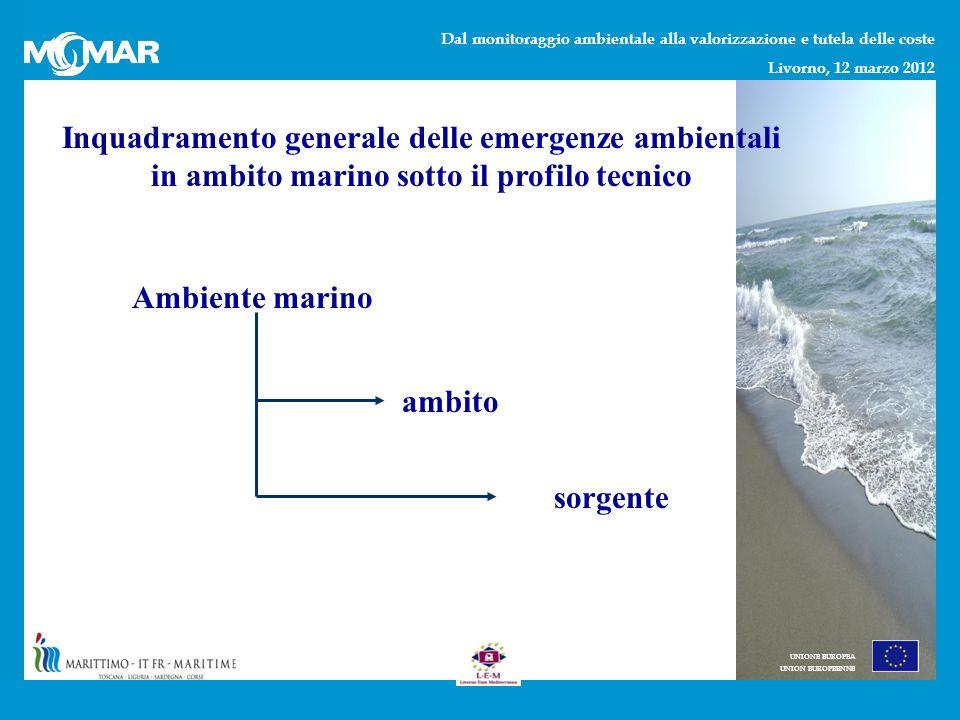 Dal monitoraggio ambientale alla valorizzazione e tutela delle coste Livorno, 12 marzo 2012 UNIONE EUROPEA UNION EUROPEENNE Inquadramento generale delle emergenze ambientali in ambito marino sotto il profilo tecnico Ambiente marino ambito sorgente