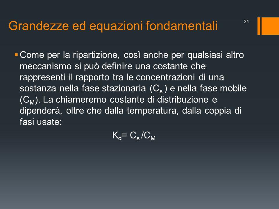 Grandezze ed equazioni fondamentali Come per la ripartizione, così anche per qualsiasi altro meccanismo si può definire una costante che rappresenti i