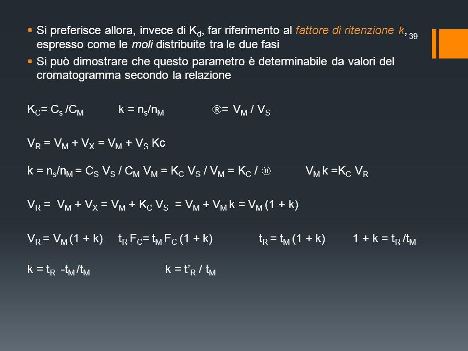 Si preferisce allora, invece di K d, far riferimento al fattore di ritenzione k, espresso come le moli distribuite tra le due fasi Si può dimostrare c