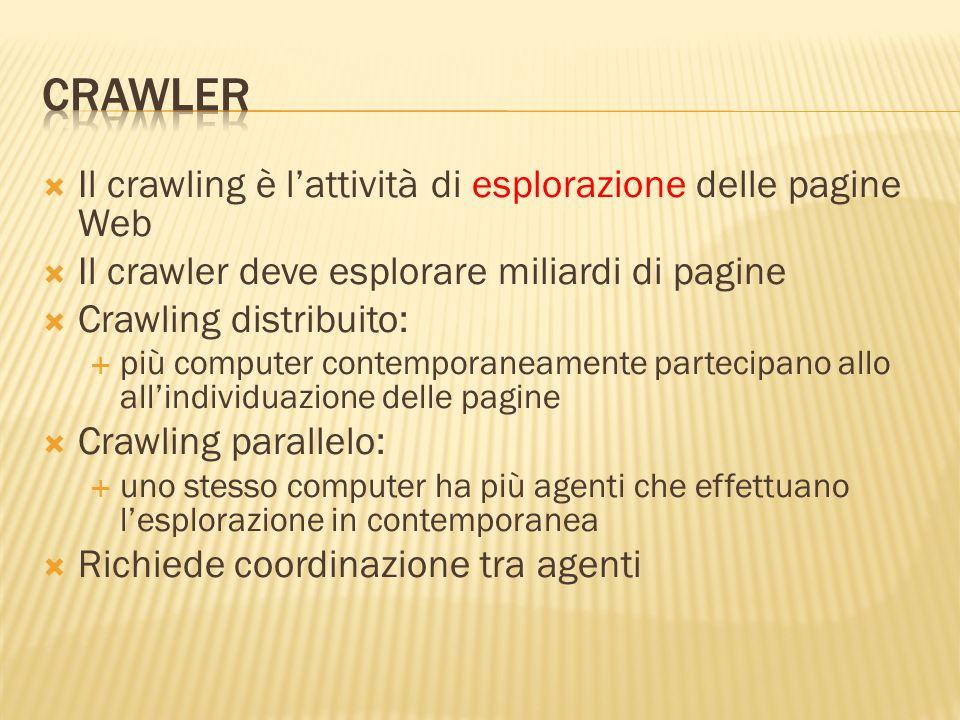 Il crawling è lattività di esplorazione delle pagine Web Il crawler deve esplorare miliardi di pagine Crawling distribuito: più computer contemporanea