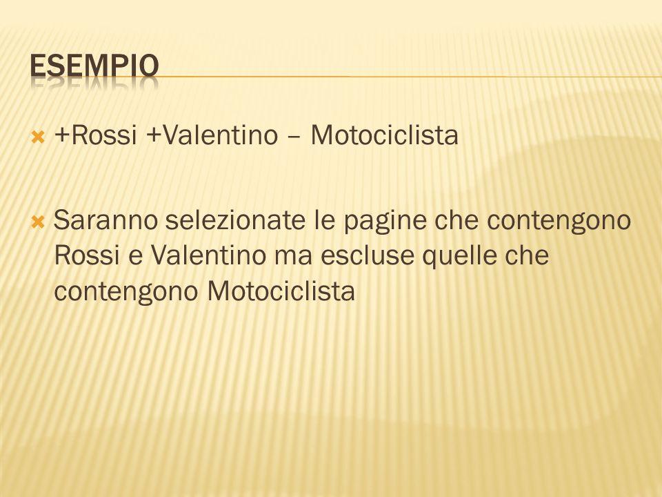+Rossi +Valentino – Motociclista Saranno selezionate le pagine che contengono Rossi e Valentino ma escluse quelle che contengono Motociclista