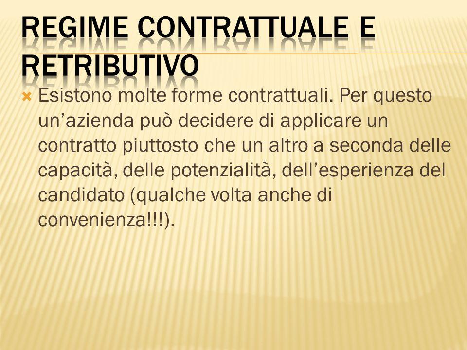 Esistono molte forme contrattuali. Per questo unazienda può decidere di applicare un contratto piuttosto che un altro a seconda delle capacità, delle