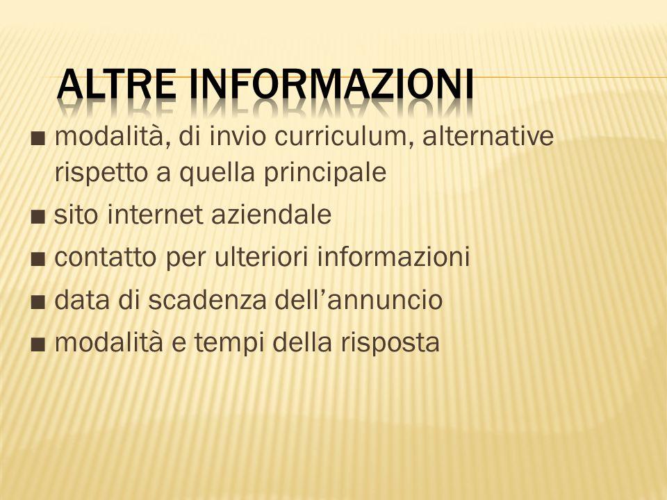modalità, di invio curriculum, alternative rispetto a quella principale sito internet aziendale contatto per ulteriori informazioni data di scadenza d
