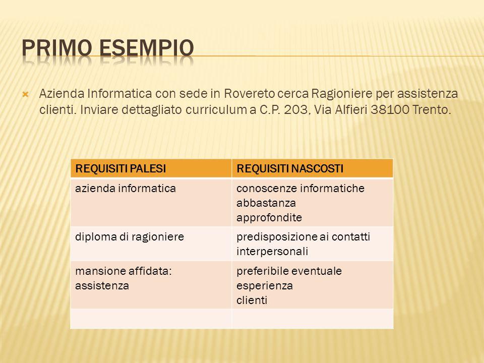 Azienda Informatica con sede in Rovereto cerca Ragioniere per assistenza clienti. Inviare dettagliato curriculum a C.P. 203, Via Alfieri 38100 Trento.