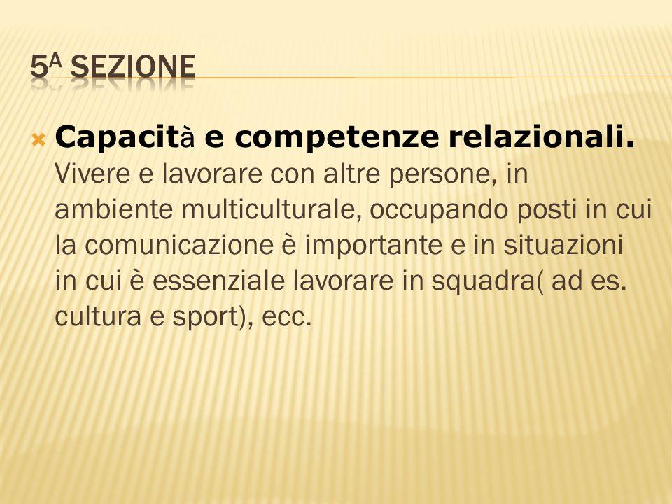 Capacit à e competenze relazionali. Vivere e lavorare con altre persone, in ambiente multiculturale, occupando posti in cui la comunicazione è importa