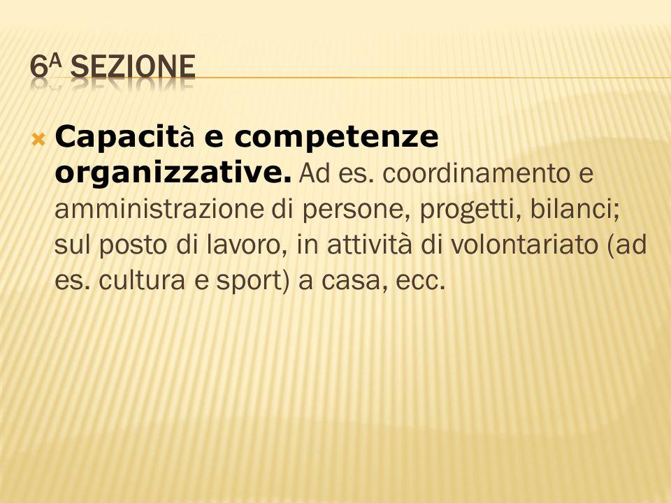 Capacit à e competenze organizzative. Ad es. coordinamento e amministrazione di persone, progetti, bilanci; sul posto di lavoro, in attività di volont