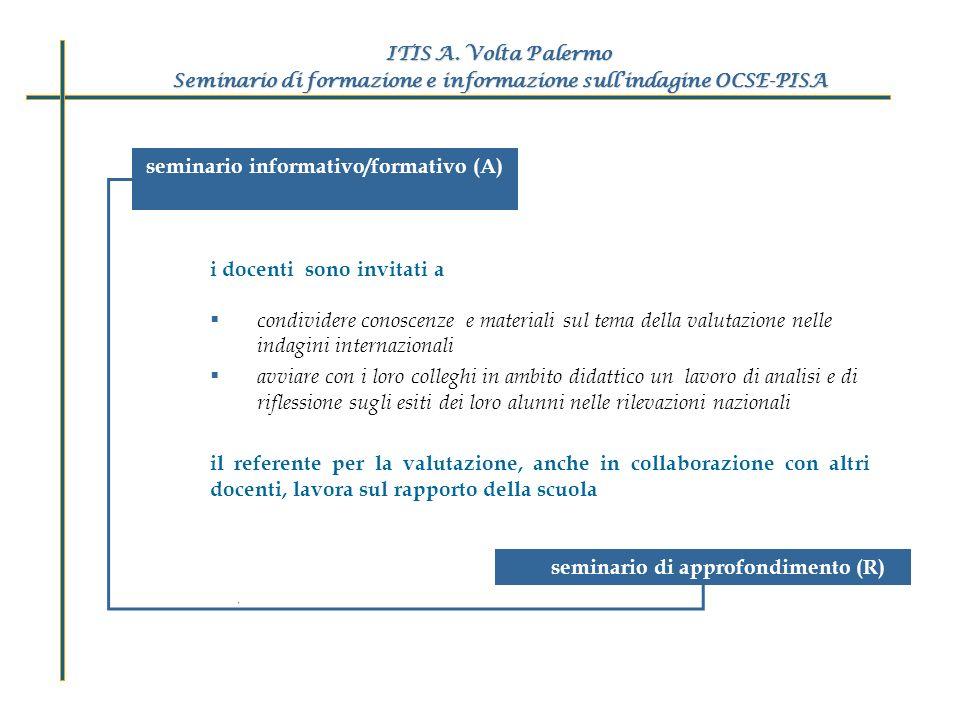 seminario informativo/formativo (A) ITIS A. Volta Palermo Seminario di formazione e informazione sullindagine OCSE-PISA i docenti sono invitati a cond