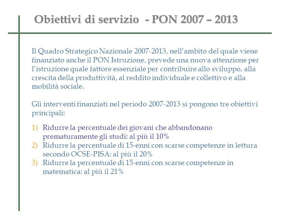 Obiettivi di servizio - PON 2007 – 2013 Perché valutare le ricadute di PON M@t.abel sugli studenti ? Il Quadro Strategico Nazionale 2007-2013, nellamb