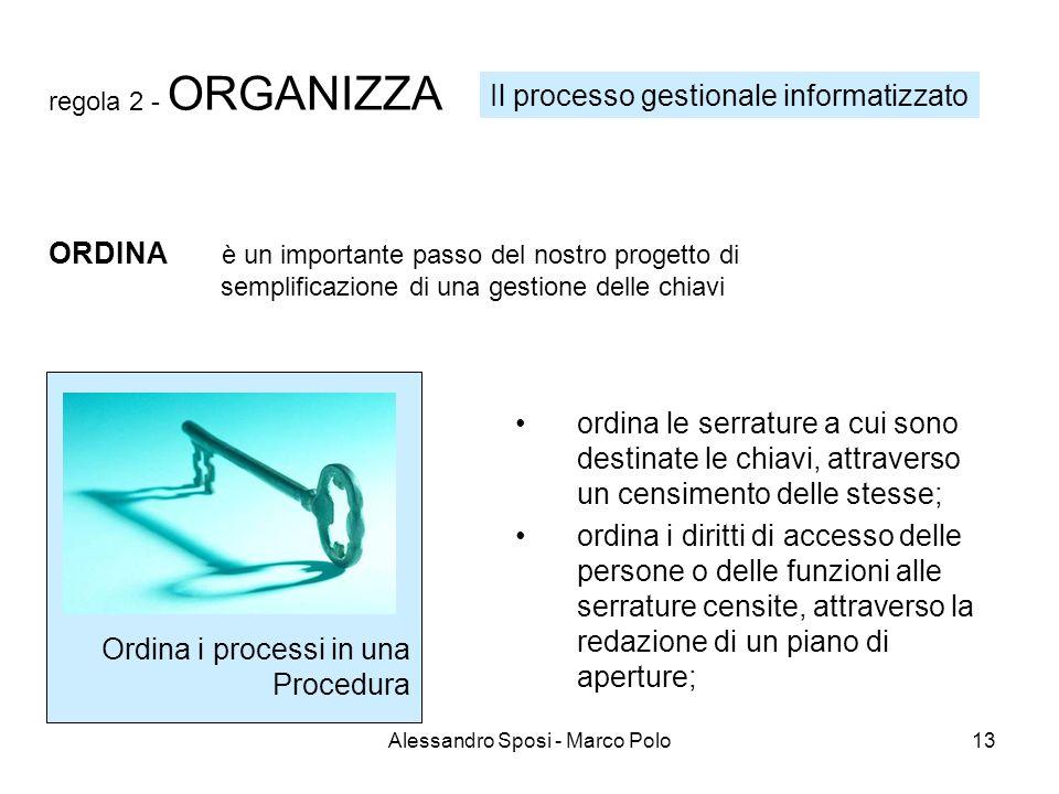 Alessandro Sposi - Marco Polo13 regola 2 - ORGANIZZA Ordina i processi in una Procedura ordina le serrature a cui sono destinate le chiavi, attraverso