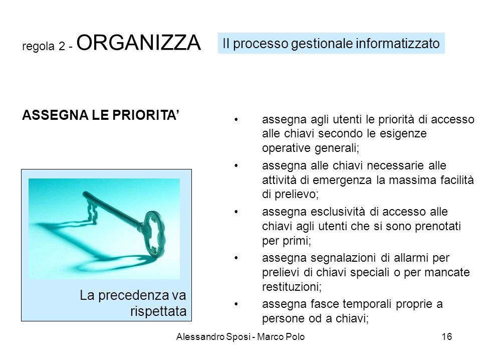 Alessandro Sposi - Marco Polo16 regola 2 - ORGANIZZA assegna agli utenti le priorità di accesso alle chiavi secondo le esigenze operative generali; as