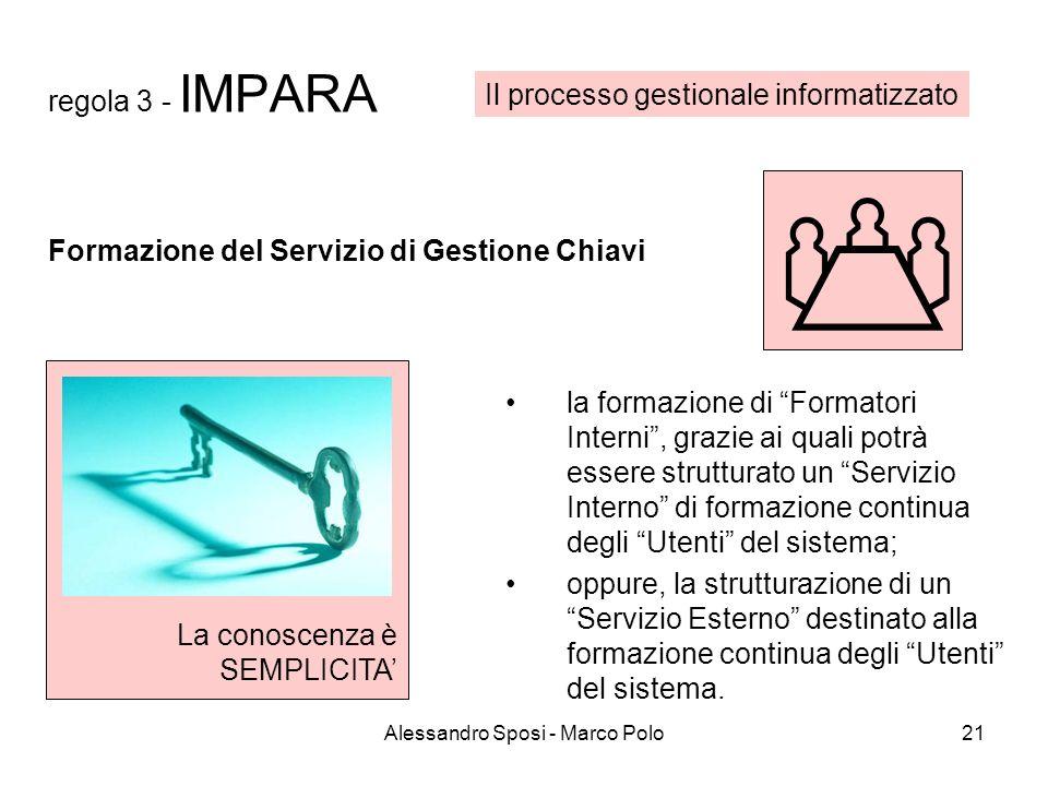 Alessandro Sposi - Marco Polo21 regola 3 - IMPARA la formazione di Formatori Interni, grazie ai quali potrà essere strutturato un Servizio Interno di