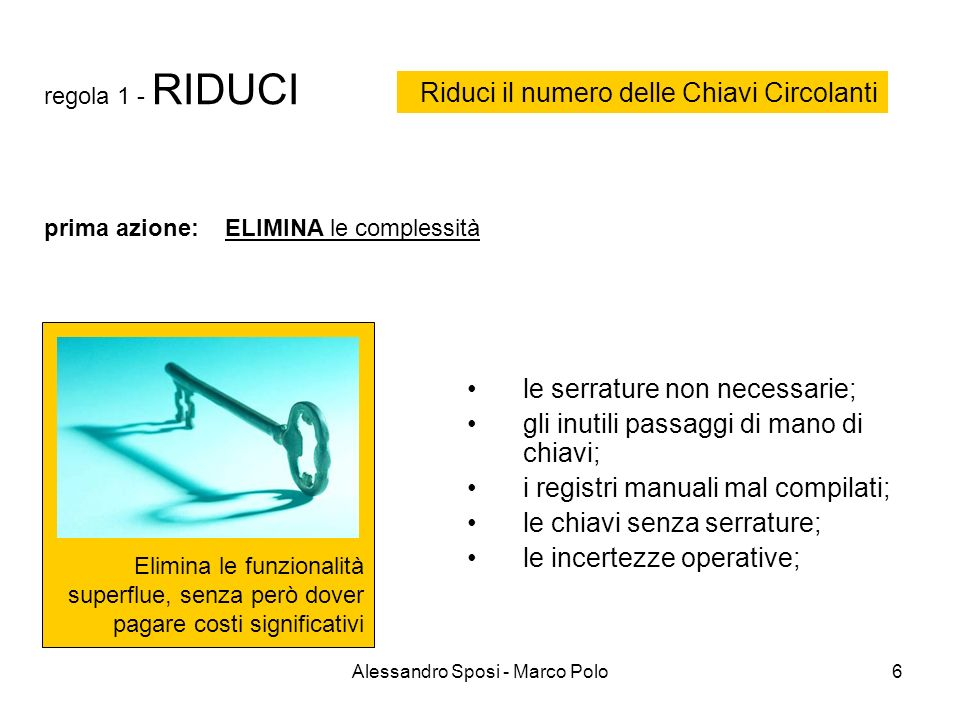 Alessandro Sposi - Marco Polo6 regola 1 - RIDUCI Elimina le funzionalità superflue, senza però dover pagare costi significativi le serrature non neces