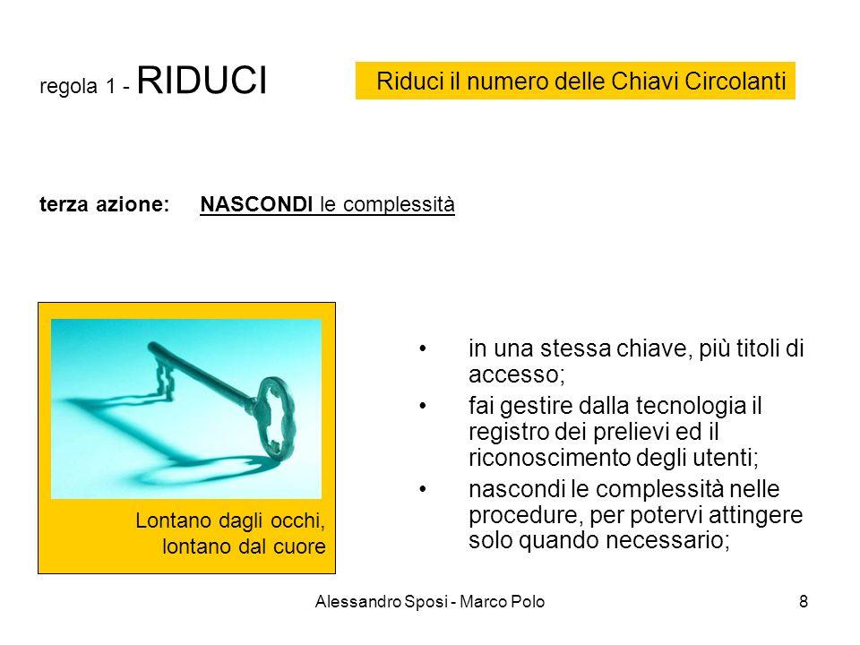 Alessandro Sposi - Marco Polo8 regola 1 - RIDUCI Lontano dagli occhi, lontano dal cuore in una stessa chiave, più titoli di accesso; fai gestire dalla