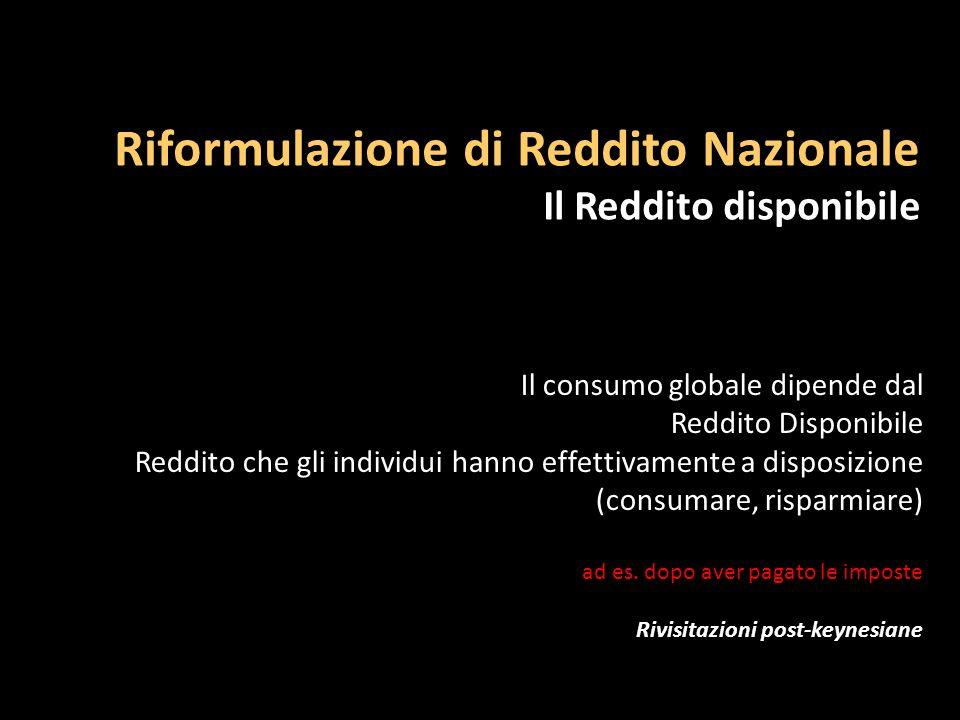 Riformulazione di Reddito Nazionale Il Reddito disponibile Il consumo globale dipende dal Reddito Disponibile Reddito che gli individui hanno effettiv