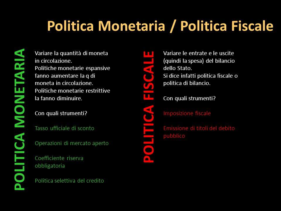 Politica Monetaria / Politica Fiscale Variare la quantità di moneta in circolazione. Politiche monetarie espansive fanno aumentare la q di moneta in c