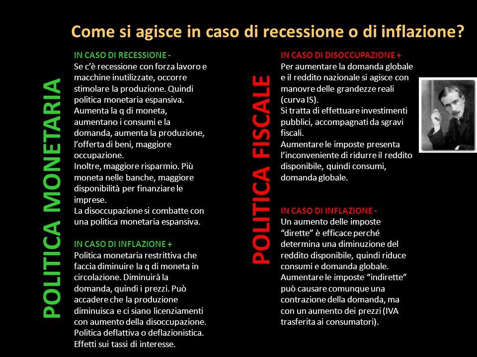 Come si agisce in caso di recessione o di inflazione? IN CASO DI RECESSIONE - Se cè recessione con forza lavoro e macchine inutilizzate, occorre stimo