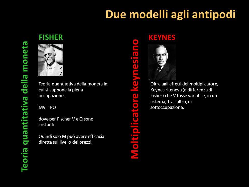 Due modelli agli antipodi FISHER Moltiplicatore keynesiano Teoria quantitativa della moneta KEYNES Teoria quantitativa della moneta in cui si suppone