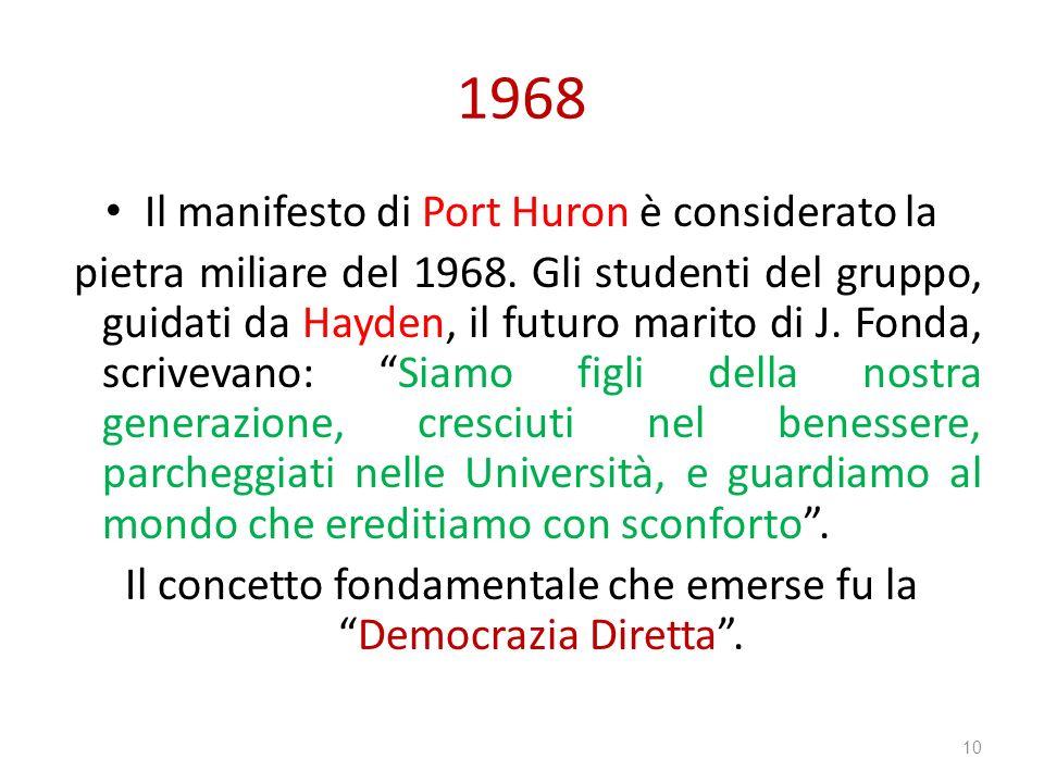 1968 Il manifesto di Port Huron è considerato la pietra miliare del 1968. Gli studenti del gruppo, guidati da Hayden, il futuro marito di J. Fonda, sc