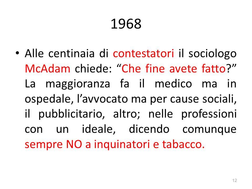 1968 Alle centinaia di contestatori il sociologo McAdam chiede: Che fine avete fatto? La maggioranza fa il medico ma in ospedale, lavvocato ma per cau
