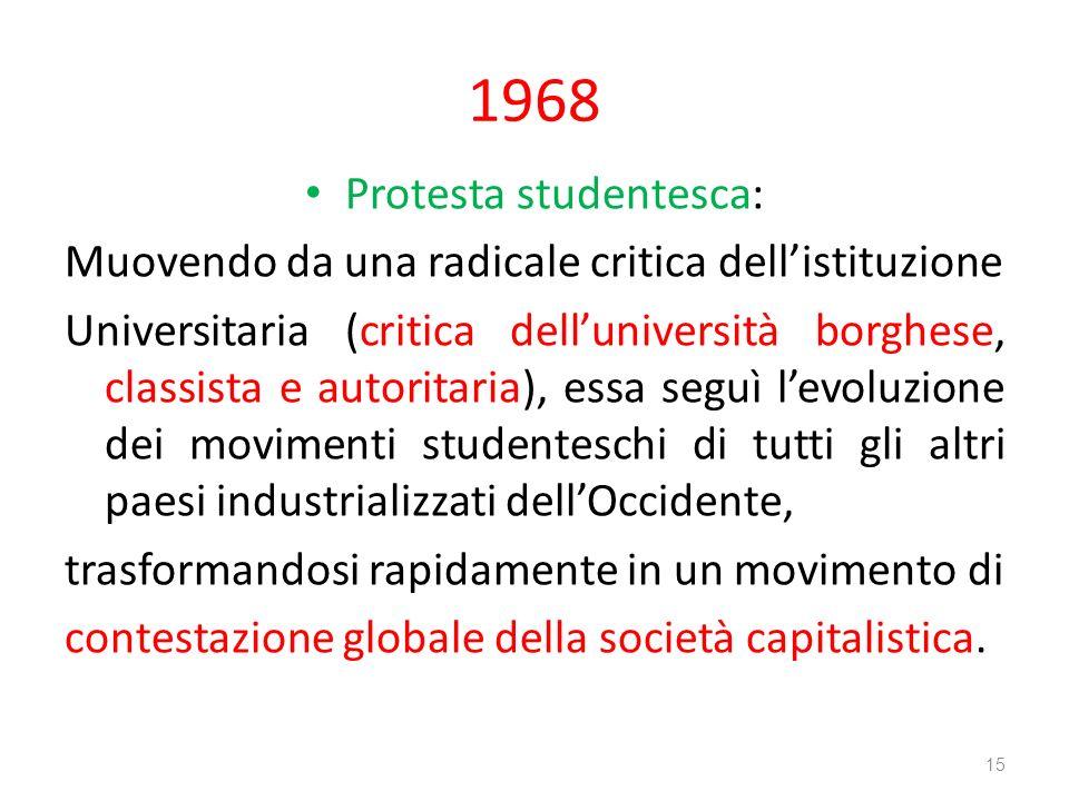 1968 Protesta studentesca: Muovendo da una radicale critica dellistituzione Universitaria (critica delluniversità borghese, classista e autoritaria),