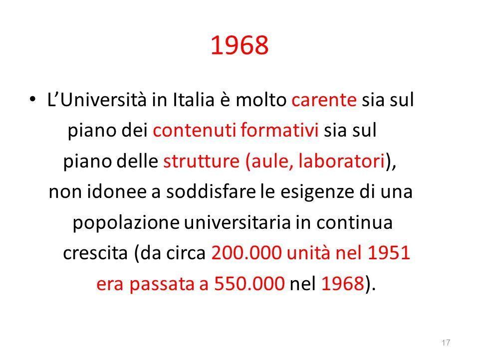 1968 LUniversità in Italia è molto carente sia sul piano dei contenuti formativi sia sul piano delle strutture (aule, laboratori), non idonee a soddis