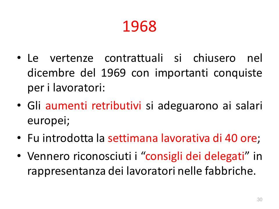 1968 Le vertenze contrattuali si chiusero nel dicembre del 1969 con importanti conquiste per i lavoratori: Gli aumenti retributivi si adeguarono ai sa