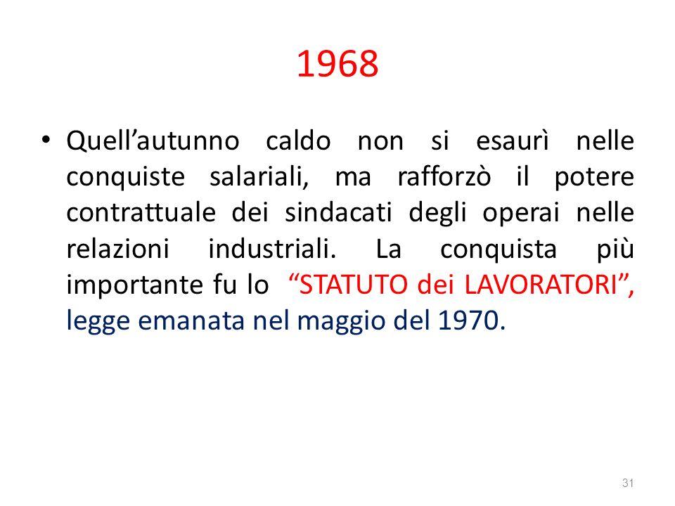 1968 Quellautunno caldo non si esaurì nelle conquiste salariali, ma rafforzò il potere contrattuale dei sindacati degli operai nelle relazioni industr