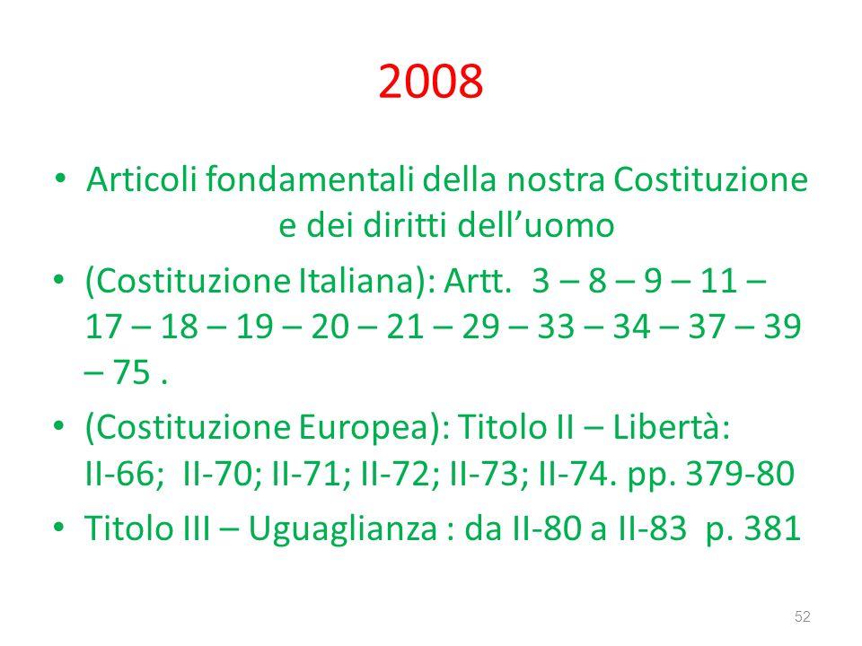 2008 Articoli fondamentali della nostra Costituzione e dei diritti delluomo (Costituzione Italiana): Artt. 3 – 8 – 9 – 11 – 17 – 18 – 19 – 20 – 21 – 2