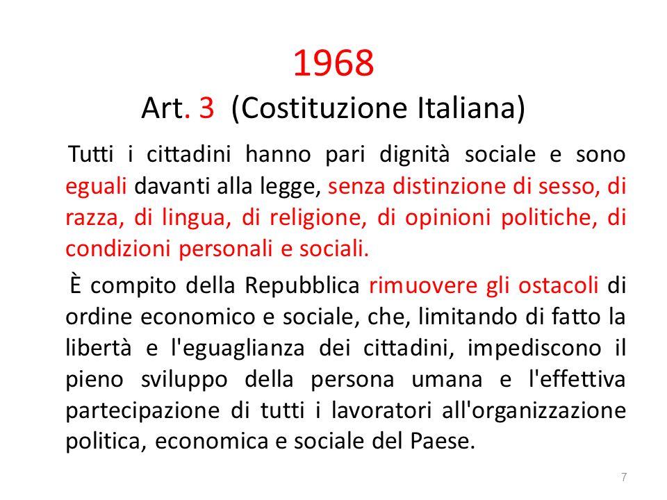 1968 Art. 3 (Costituzione Italiana) Tutti i cittadini hanno pari dignità sociale e sono eguali davanti alla legge, senza distinzione di sesso, di razz
