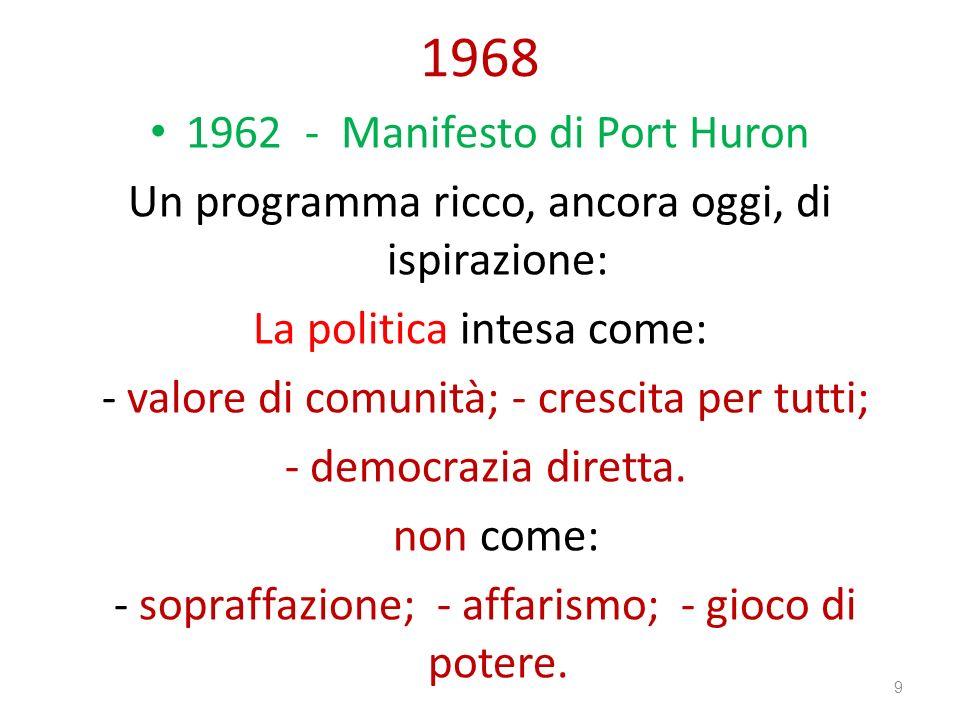 1968 1962 - Manifesto di Port Huron Un programma ricco, ancora oggi, di ispirazione: La politica intesa come: - valore di comunità; - crescita per tut