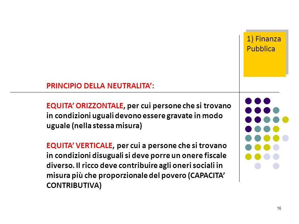 16 PRINCIPIO DELLA NEUTRALITA: EQUITA ORIZZONTALE, per cui persone che si trovano in condizioni uguali devono essere gravate in modo uguale (nella ste