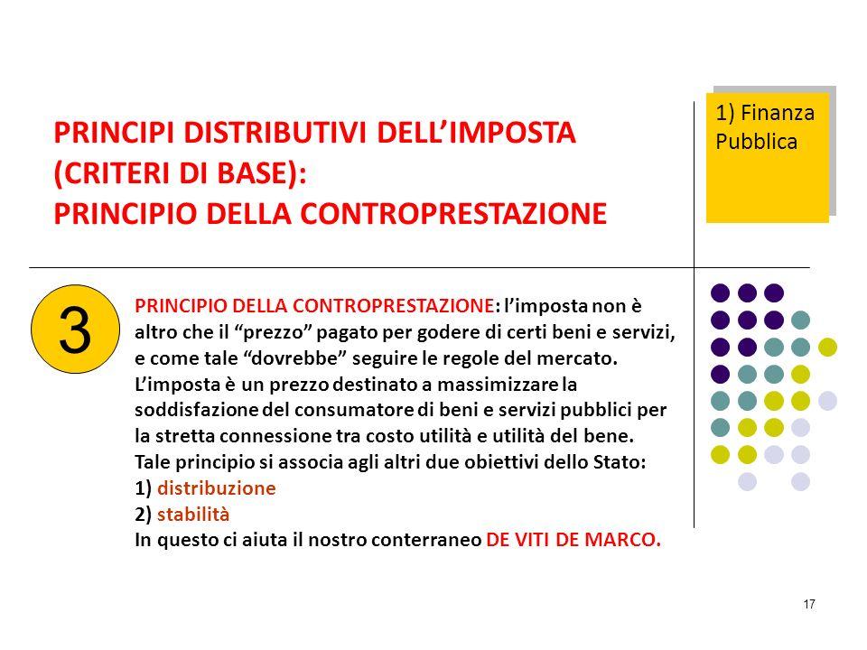 17 PRINCIPI DISTRIBUTIVI DELLIMPOSTA (CRITERI DI BASE): PRINCIPIO DELLA CONTROPRESTAZIONE PRINCIPIO DELLA CONTROPRESTAZIONE: limposta non è altro che